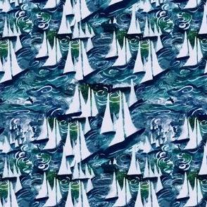 Beach nautical artistic ocean sail boat teal navy white