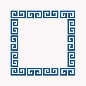 greek key 20 inch panel Ivory & Classic Blue