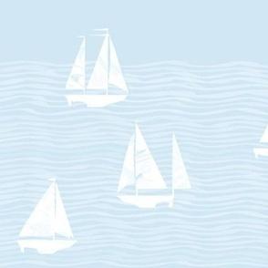 Beach nautical artistic small white sailboats and gray waves light blue