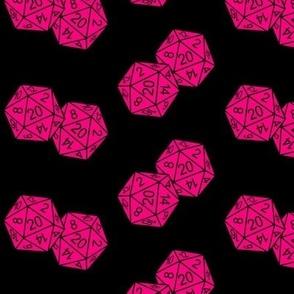 Bubblegum Pink d20 Dice Black BG by Shari Lynn's Stitches