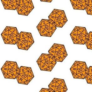Cheddar Orange d20 Dice White BG by Shari Lynn's Stitches