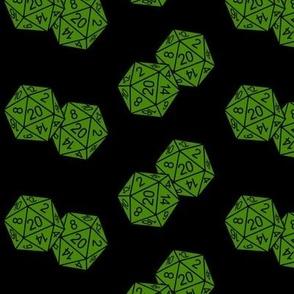 Poison Green d20 Dice Black BG by Shari Lynn's Stitches