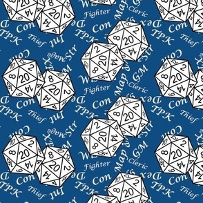 White d20 Dice with Med Scale White Gamer Terms Classic Blue BG By Shari Lynn's Stitches