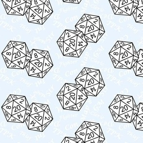 White d20 Dice with Med Scale White Gamer Terms Ice BG By Shari Lynn's Stitches