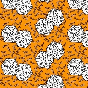 White d20 Dice with Small Scale Black Gamer Terms Cheddar Orange BG by Shari Lynn's Stitches