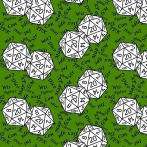 White d20 Dice with Small Scale Black Gamer Terms Poison Green BG by Shari Lynn's Stitches