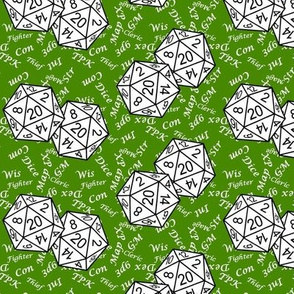 White d20 Dice with Small Scale White Gamer Terms Poison Green BG by Shari Lynn's Stitches