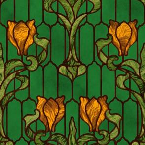 Tulip Stained Glass Window ~ Original