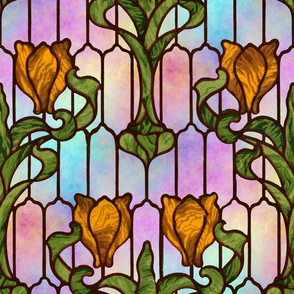 Tulip Stained Glass Window ~ Opal