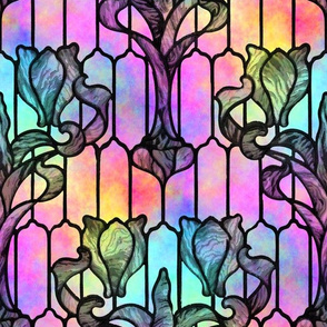 Tulip Stained Glass Window ~ Vivid Opal