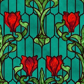 Tulip Stained Glass Window ~ Red on Mottled Napels