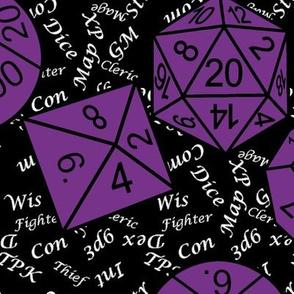 Mauveine Jumbo RPG Dice large white gamer terms black bg by Shari Lynn's Stitches