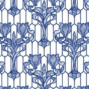 Tulip Stained Glass Window ~ Willow Ware Blue and White