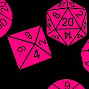 Bubblegum Pink Jumbo RPG Dice Black BG by Shari Lynn's Stitches