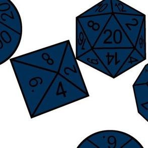 Midnight Jumbo RPG Dice White BG by Shari Lynn's Stitches