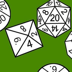 White Jumbo RPG Dice Poison Green bg by Shari Lynn's Stitches