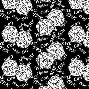 White d20 Dice Black BG with Medium Scale Gamer Terms by Shari Lynn's Stitches