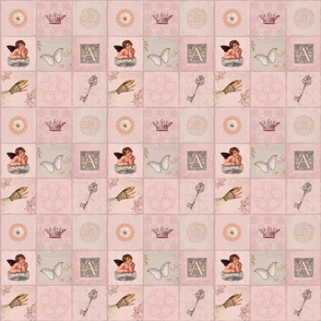 Pink Vintage Ephemera Patchwork Pattern Smaller