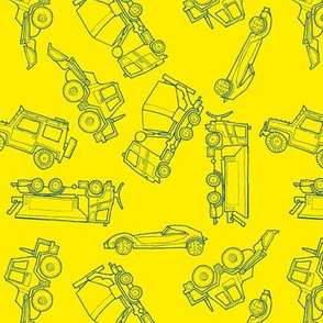 illustrated vehicles toss - blue-yellow
