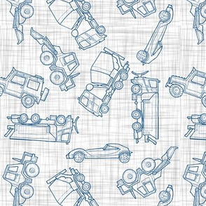 illustrated vehicles toss - blue-grey