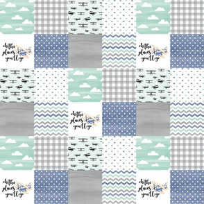3 inch Oh the places you'll go//Retro Planes - Wholecloth Cheater Quilt