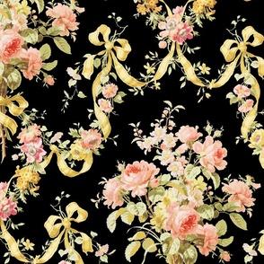 Queen Alexandra Floral Damask ~ Black