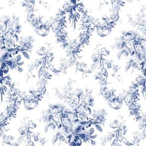 Queen Alexandra Floral Damask ~ Willow Ware Blue and White