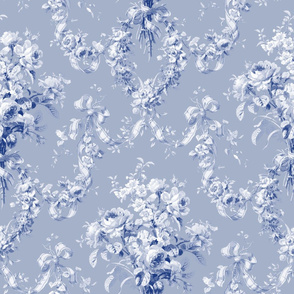 Queen Alexandra Floral Damask ~  Willow Ware Blue and White on Henriette