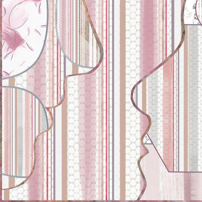Dual Faces (pink, rose, ivory & silver stripes)