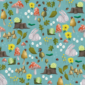 Mushroom Forest Friends on Textured Teal - Medium Scale