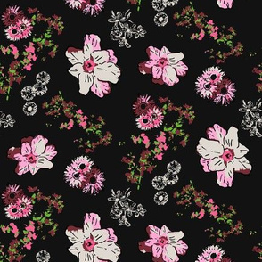 Vintage style Floral on black, half scale