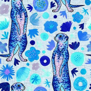 Blue confetti meerkat and watercolour flowers
