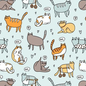 Smaller size Cute special cats cartoon pattern
