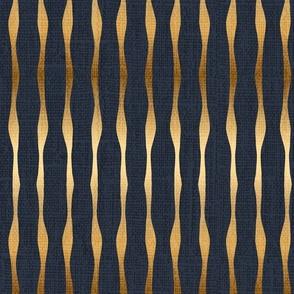 Bella Nora Gold Navy blue stripes