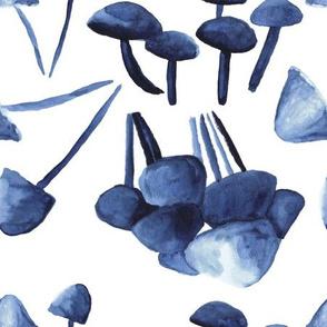 Scattered Indigo Mushrooms