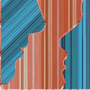Dual Faces (turquoise & coral) ombré stripes