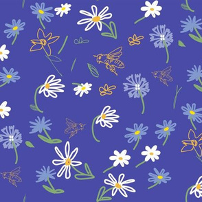 Bees and Daisies, blue