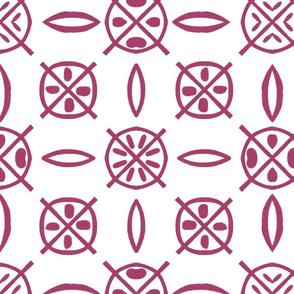 Tikis circles burgundy