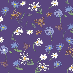 Bee and Daisies, purple