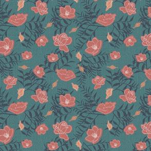 Bella Nora red blue floral pattern