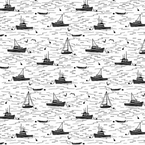 Harbor Boats white black tiny