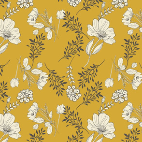 Gold Sketchbook Botanical  Farmhouse Flowers Gold TerriConradDesigns