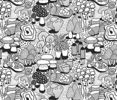 Mushrooms (Stitching on Prints)
