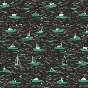 Harbor Boats dark grey green tiny