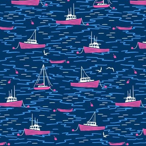 Harbor Boats navy blue hot pink small