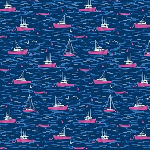 Harbor Boats navy blue hot pink tiny