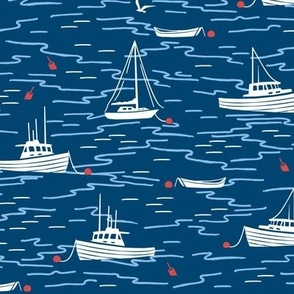 Harbor Boats navy blue red medium