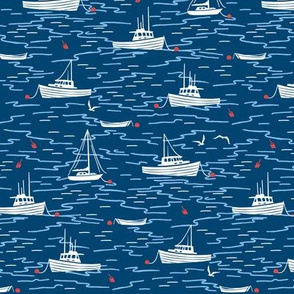 Harbor Boats navy blue red small