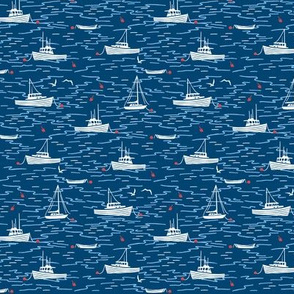 Harbor Boats navy blue red tiny