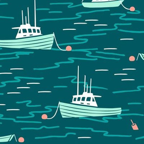 Harbor Boats teal mint large
